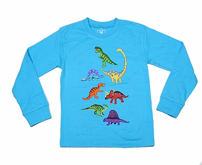 Wes & Willy Boys Blue Dinosaurs Dinos Tee Shirt