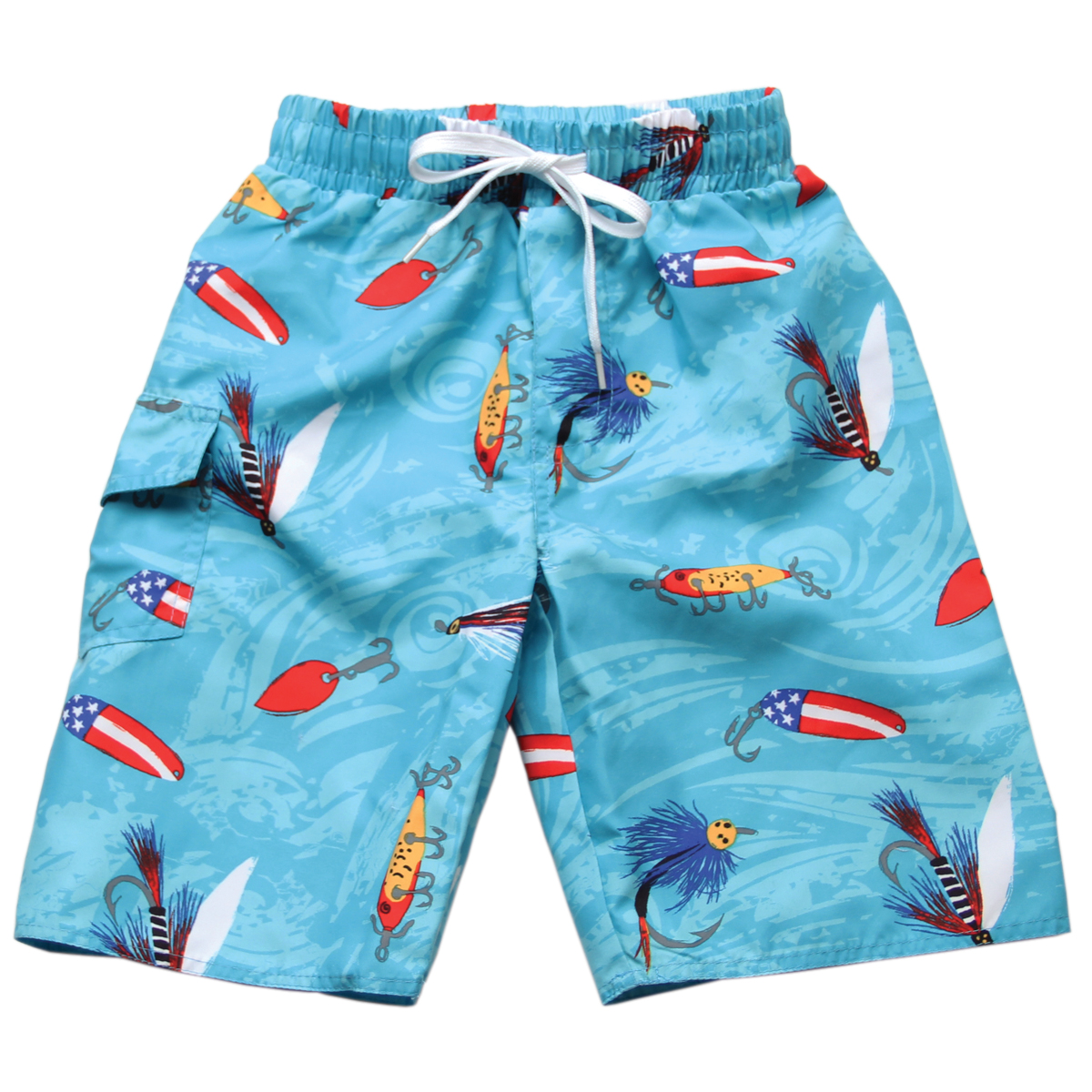 wes willy boys blue fishing lures swim trunks