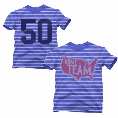 Wes & Willy Boys Blue Stripe Shirt - Patriotic United States Map - Home Team #50
