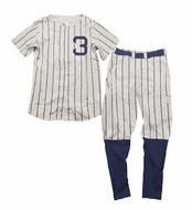 Wes & Willy Boys Blue Striped Babe Ruth New York Yankees Baseball Pajamas