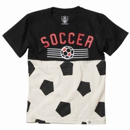 Wes & Willy Boys Bone / Black Soccer Ball Shirt