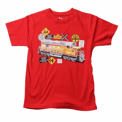 Wes & Willy Boys Bright Red Choo Choo Train Shirt