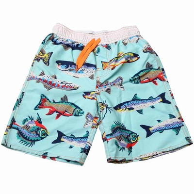 Wes & Willy Boys Coastal Blue Fresh Water Fish Print Swim Trunks