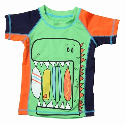 Wes & Willy Boys Green / Orange Dinosaur Surf Snack Rash Guard Shirt