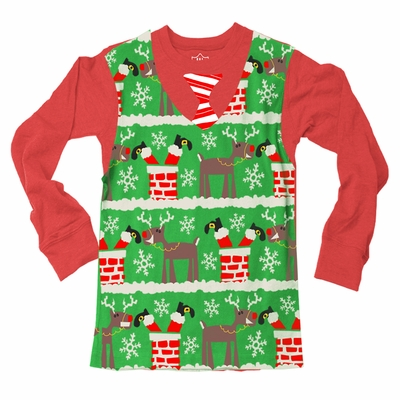 Wes & Willy Boys Green Ugly Christmas Sweater Shirt with Red Sleeves