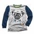 Wes & Willy Boys Heather Gray / Blue Sleeves Shirt - Dog Wearing Glasses