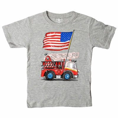 Wes & Willy Boys Heather Grey Shirt - Fire Truck with Patriotic Flag