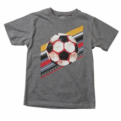 Wes & Willy Boys Metal Gray Tee Shirt - Soccer Ball