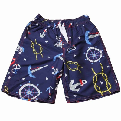 Wes & Willy Boys Midnight Blue American Nautical Swim Trunks