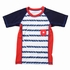 Wes & Willy Boys Navy Blue / White / Red Nautical Striped Rash Guard Surf Shirt