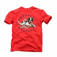 Wes & Willy Boys Red American Baseball Dog T-Shirt