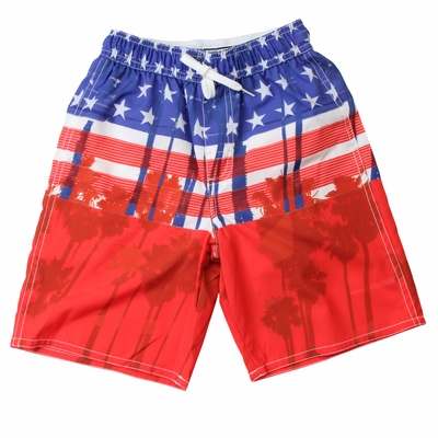 Wes & Willy Boys Red / Blue Stars & Stripes Patriotic Swim Trunks