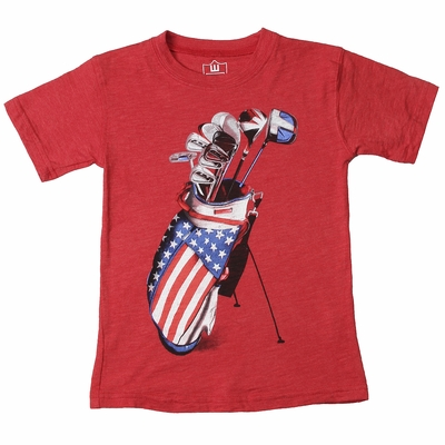 Wes & Willy Boys Red Patriotic Golf Clubs Shirt