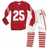 Wes & Willy Boys Red Christmas Football Team Number 25 Pajamas