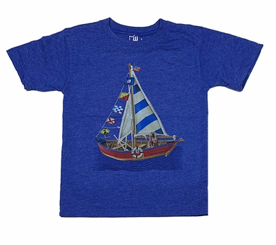 Wes & Willy Boys Royal Blue Shirt - Dog on Sailboat