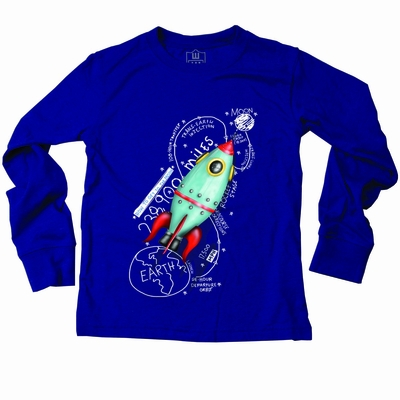 Wes Amp Willy Boys Royal Blue Space Rocket Moon Ship Tee Shirt