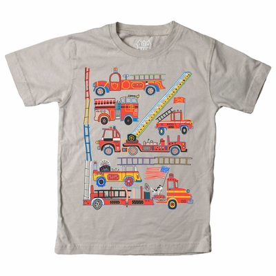 Wes & Willy Boys Steel Grey Shirt - Red Fire Trucks