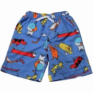 Wes & Willy Boys Vista Blue Beach Dogs Print Swim Trunks