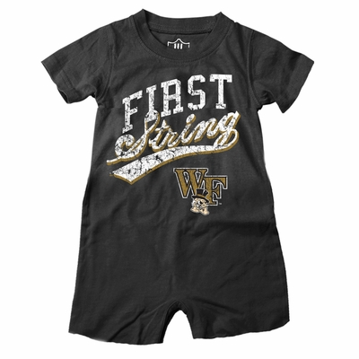 Wes & Willy Collegiate Baby Boys Romper - First String - Black Wake Forest Demon Deacons
