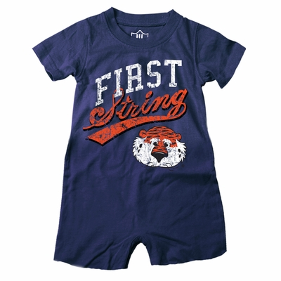 Wes & Willy Collegiate Baby Boys Romper - First String - Blue Auburn Tigers