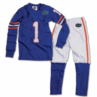 Wes & Willy Collegiate Boys Blue Football Pajamas - Florida Gators