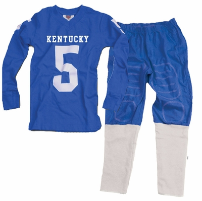 Wes & Willy Collegiate Boys Blue Football Pajamas - Univ. of Kentucky