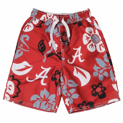 Wes & Willy Collegiate Boys Floral Swim Trunks - Alabama Crimson Tide