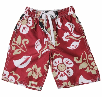 Wes & Willy Collegiate Boys Floral Swim Trunks - Red Florida State Univ FSU Seminoles