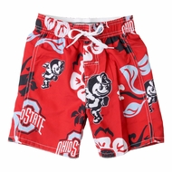 Wes & Willy Collegiate Boys Floral Swim Trunks - Red Ohio State Buckeyes