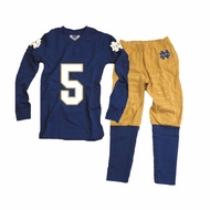 Wes & Willy Collegiate Boys Football Pajamas - Navy Blue & Gold Notre Dame