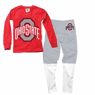 Wes & Willy Collegiate Boys Football Pajamas - Red & Gray Ohio State Univeristy Buckeyes