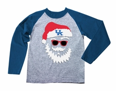 Wes & Willy Collegiate Boys Gray / Blue Sleeved Santa Claus Shirt - University of Kentucky