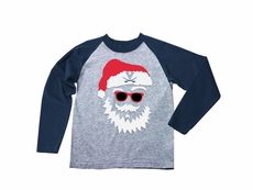 Wes & Willy Collegiate Boys Gray / Navy Blue Sleeves Santa Claus Shirt - UVA Univ. of Virginia Cavaliers