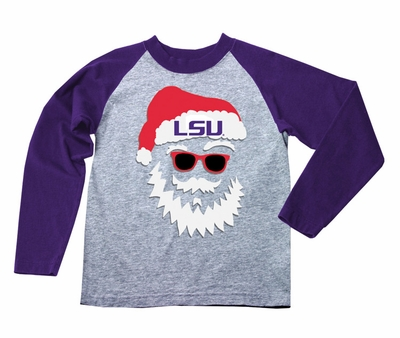 Wes & Willy Collegiate Boys Gray / Purple Sleeved Santa Claus Shirt - LSU - Louisiana State University