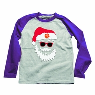 Wes & Willy Collegiate Boys Gray / Purple Sleeves Santa Claus Shirt - Clemson Tigers