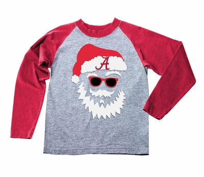 Wes & Willy Collegiate Boys Gray / Red Sleeved Santa Claus Shirt - Univ. of Alabama Crimson Tide