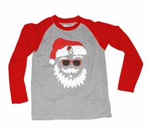 Wes & Willy Collegiate Boys Gray / Red Sleeved Santa Claus Shirt - Univ. of Georgia UGA Bulldogs