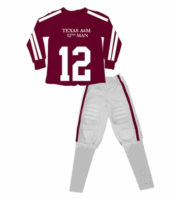 Wes & Willy Collegiate Boys Maroon Football Pajamas - Texas A & M Aggies
