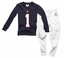 Wes & Willy Collegiate Boys Navy Blue Football Pajamas - UVA Univ. of Virginia Cavaliers
