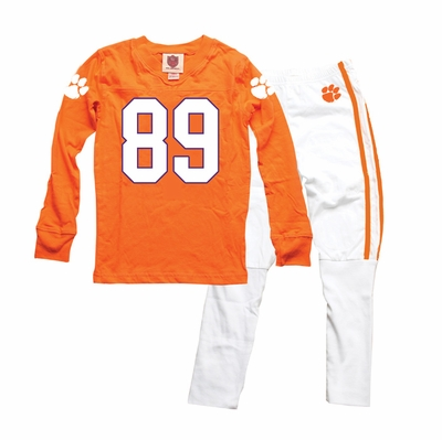 Wes & Willy Collegiate Boys Orange Football Jersey Pajamas - Clemson Tigers