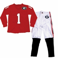 Wes & Willy Collegiate Boys Red Football Pajamas - Georgia Bulldogs