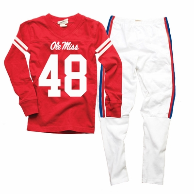 Wes & Willy Collegiate Boys Red Football Pajamas - Ole Miss