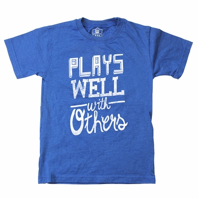 Wes & Willy Toddler Boys Royal Blue Shirt - Plays Well With Others