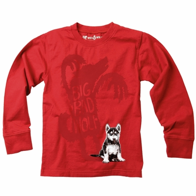 Wes & Willy Toddler Boys Tomato Red Big Bad Wolf Tee Shirt