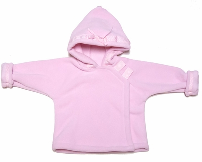 Widgeon Children's Coats - Girls Fleece Jacket with Polka Dots Ribbon Trim - Pastel Pink