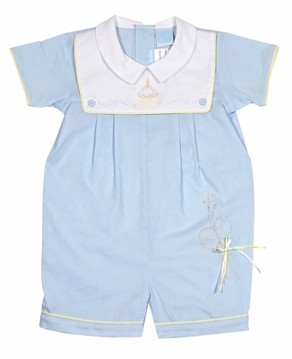 Will'Beth Baby Boys Blue First Birthday Balloons / Cake Romper - White Collar
