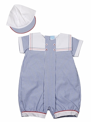 Will'Beth Baby Boys Blue Stripe Sailor Collar Romper with Hat