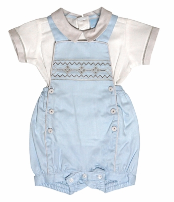 Will'beth Baby Boys Blue / Tan Smocked Overall Set with Shirt