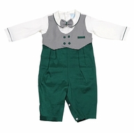 Will'Beth Baby Boys Vested Christmas Outfit - Black Check with Green