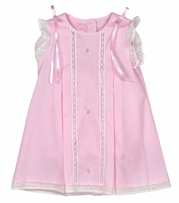 Will'Beth Baby Girls Sweet Pink Dress with Lace and Ribbons